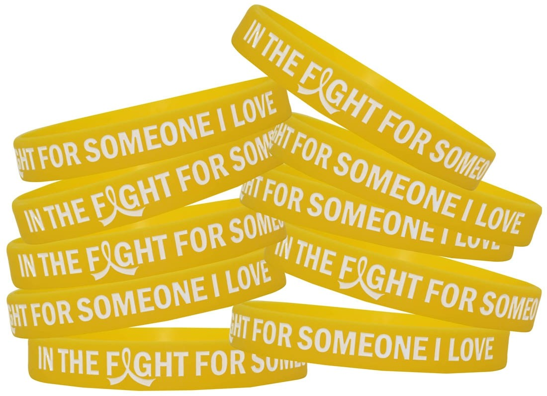 """In the Fight"" Silicone Wristband Bracelet - Yellow"