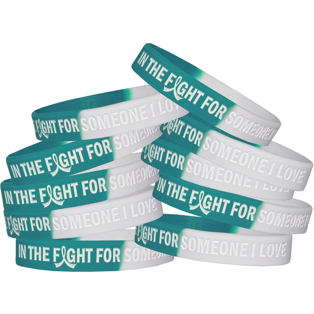 """""""In The Fight For Someone I Love"""" Silicone Wristband - Teal, White (10 Pack)"""