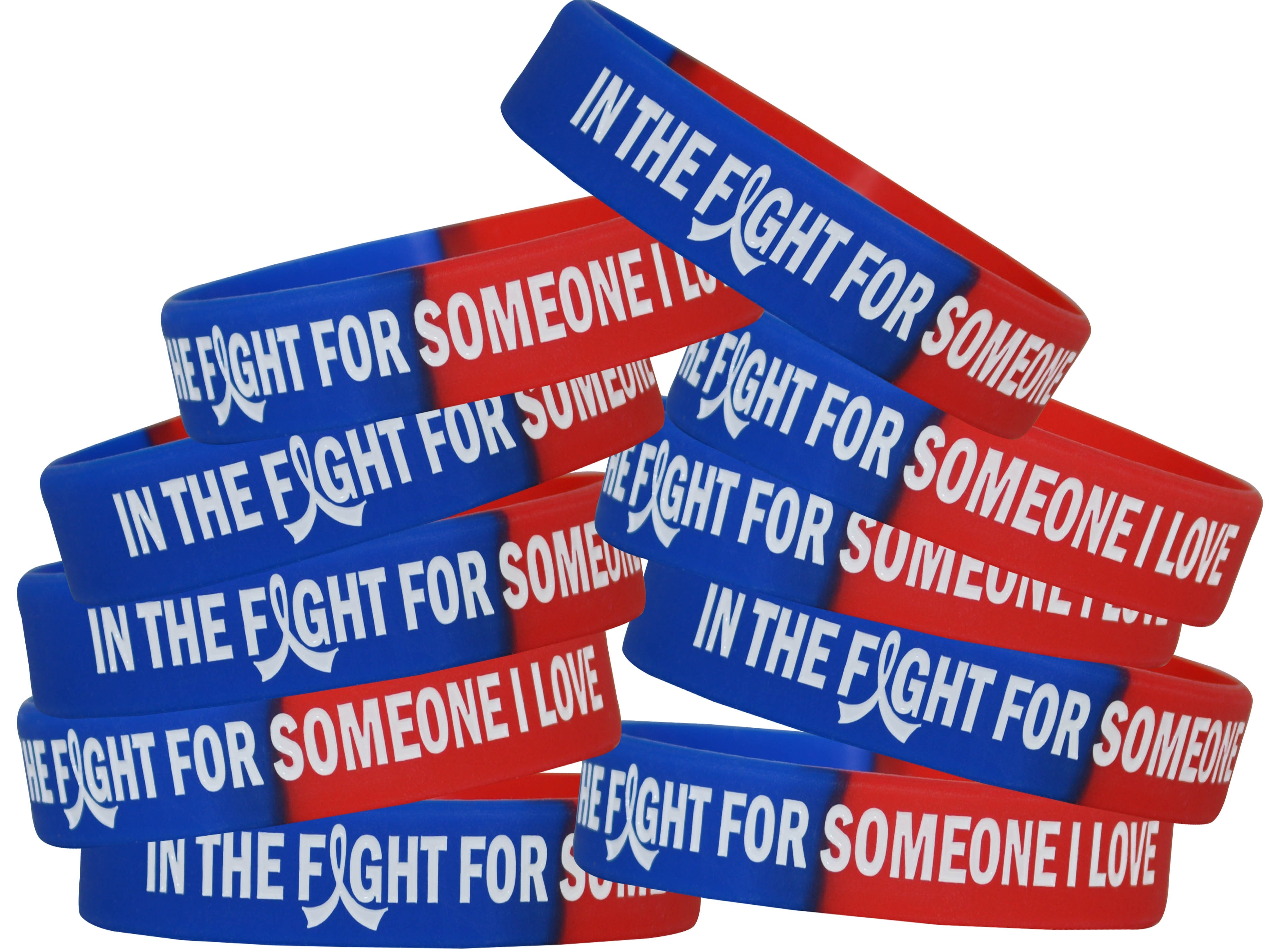 """""""In The Fight"""" Breast Cancer Silicone Wristband - Blue, Red"""