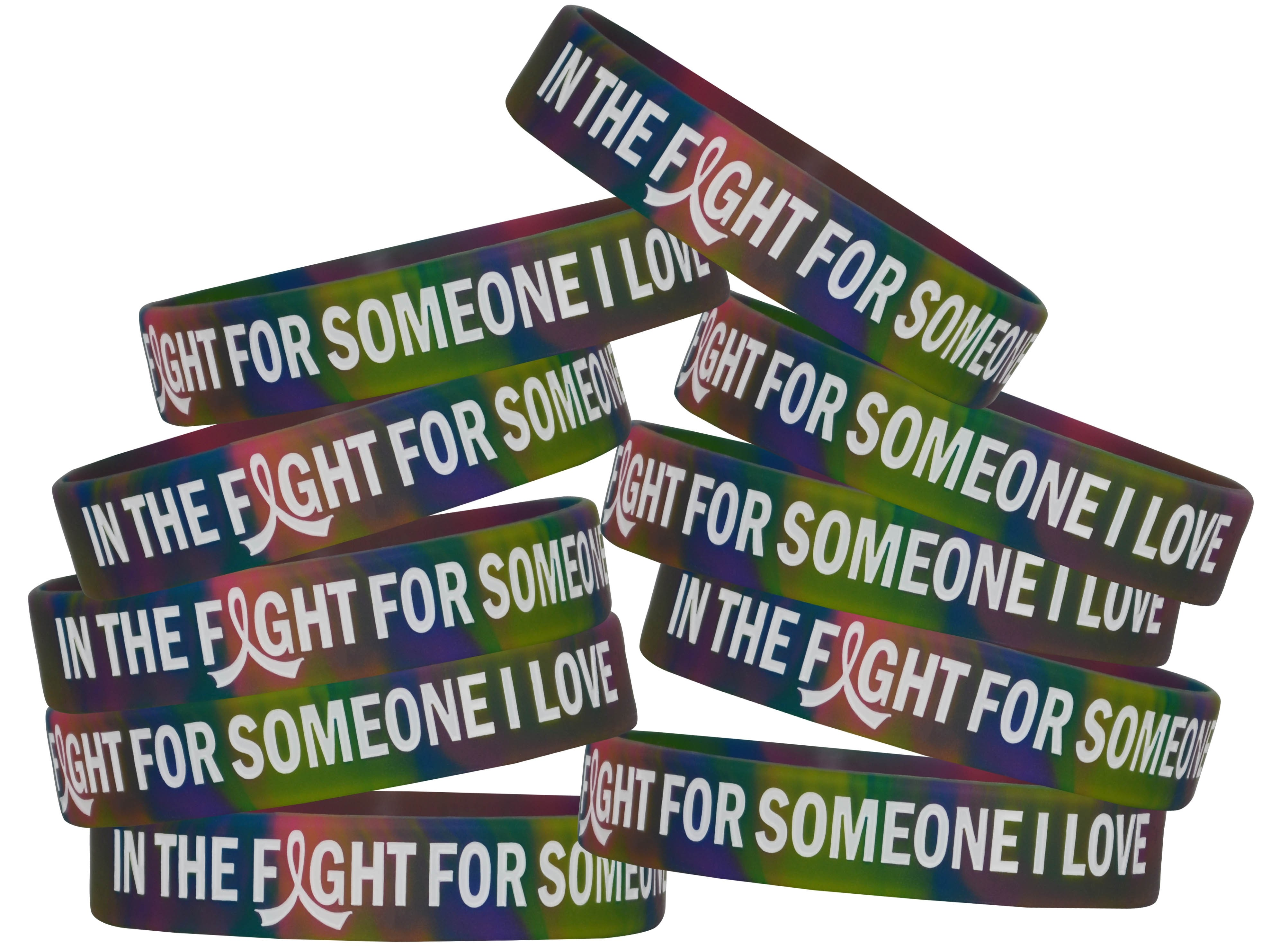 """""""In the Fight"""" Ink-Filled Silicone Wristband - Rainbow Tie-Dye"""