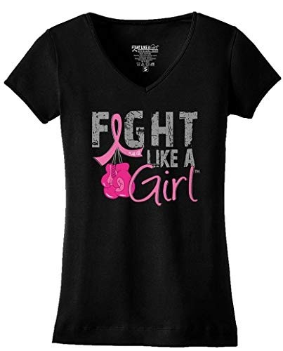 """""""Fight Like a Girl Knockout"""" Ladies V-Neck T-Shirt - Black w/ Pink"""