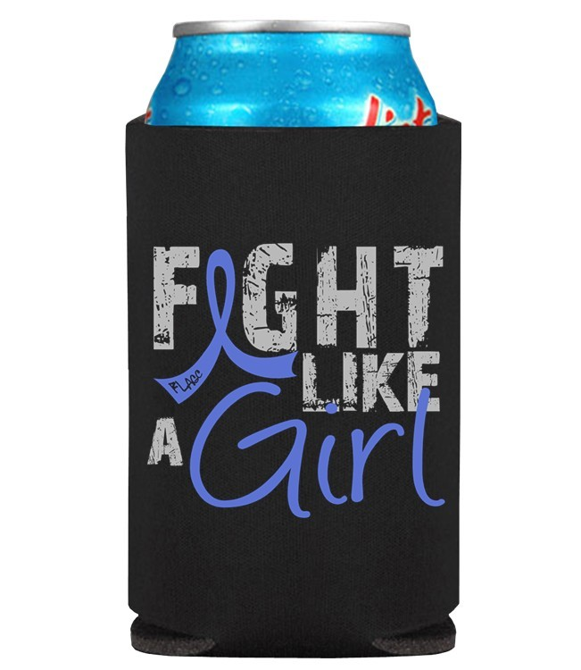 Fight Like a Girl Koozie Can Cooler for Colon Cancer, CFS, RA, AS, Guillain Barre Syndrome, Reye's, Arthritis, Dysautonomia