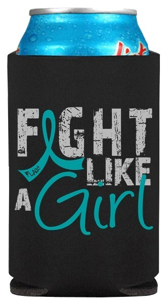 Fight Like A Girl Koozie Can Coolers For Ovarian Cancer Cervical Cancer Pkd Aka Polycystic Kidney Disease Peritoneal Cancer