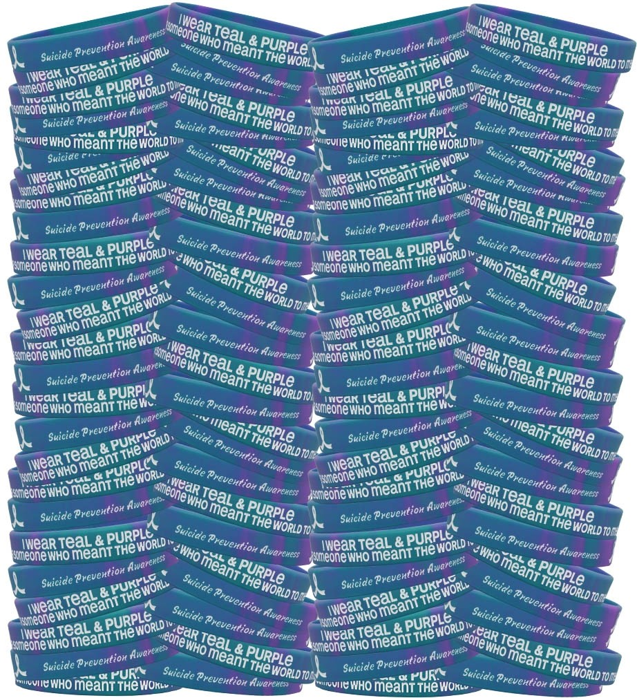 """Meant The World To Me"" Suicide Awareness Silicone Wristband Bracelet - Teal & Purple Tie-Dye (100 Pack)"
