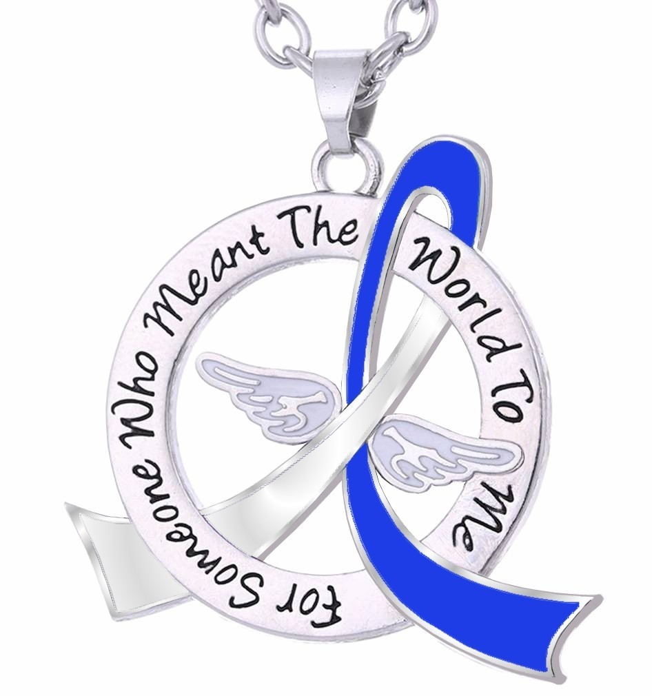"""Meant The World To Me"" Tribute Necklace - Blue & White Ribbon"