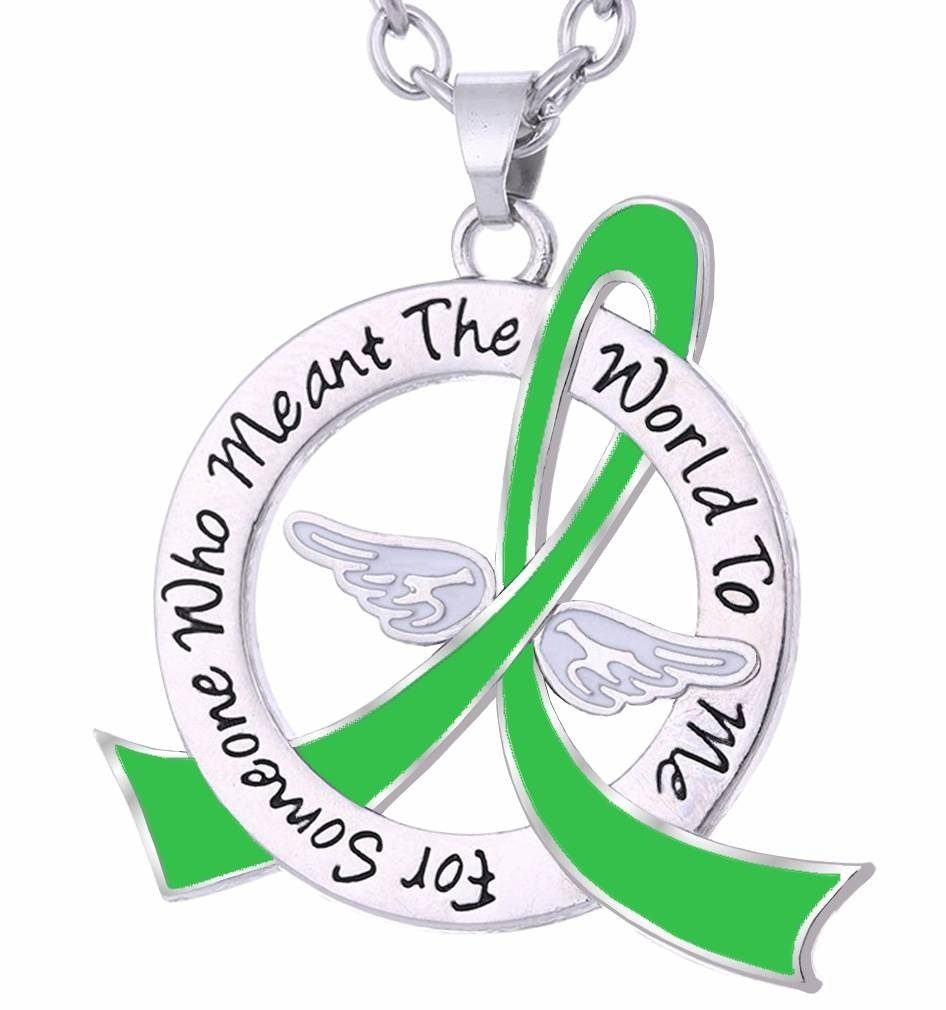 """Meant The World To Me"" Tribute Necklace - Lime Green Ribbon"