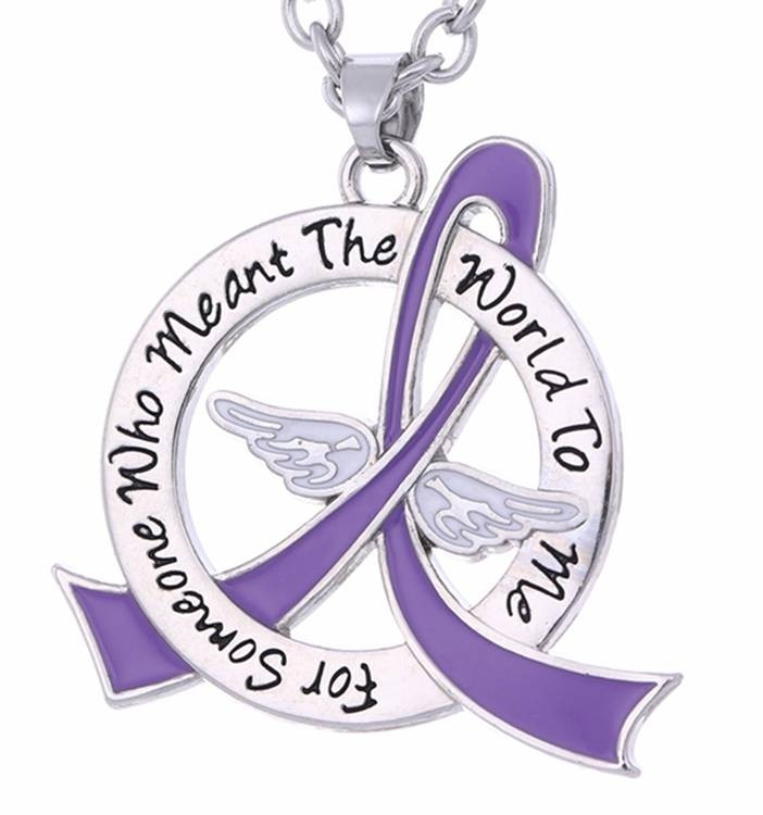 In Memory Of Tribute Necklace for Pancreatic Cancer, Lupus, Leiomyosarcoma, Cystic Fibrosis, Alzheimer's Disease, Sarcoidodis