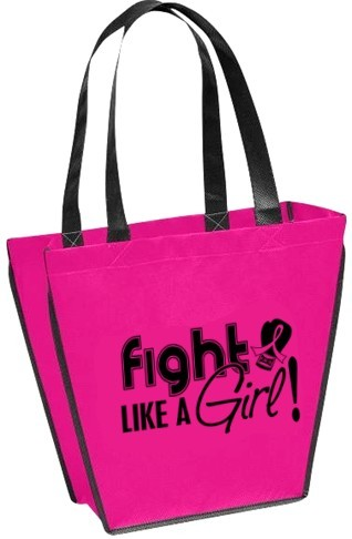 Fight Like a Girl Breast Cancer Mini Tote Bag - Hot Pink