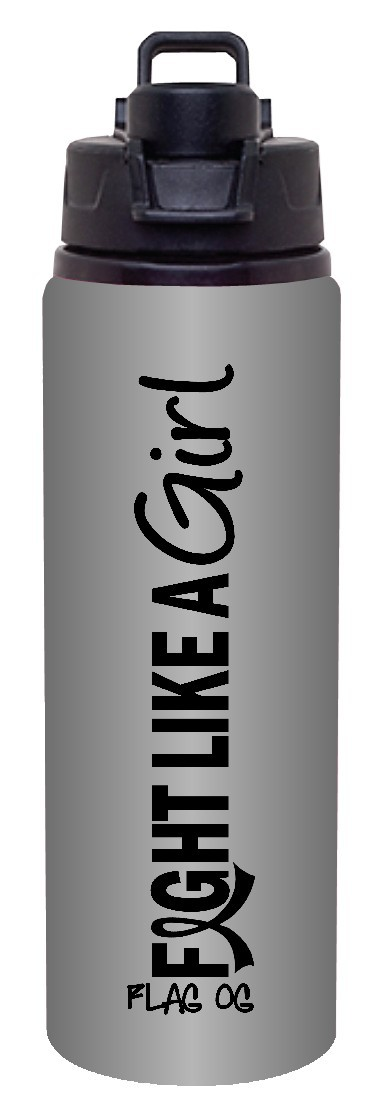 Fight Like a Girl Aluminum Sports Bottle - Graphite