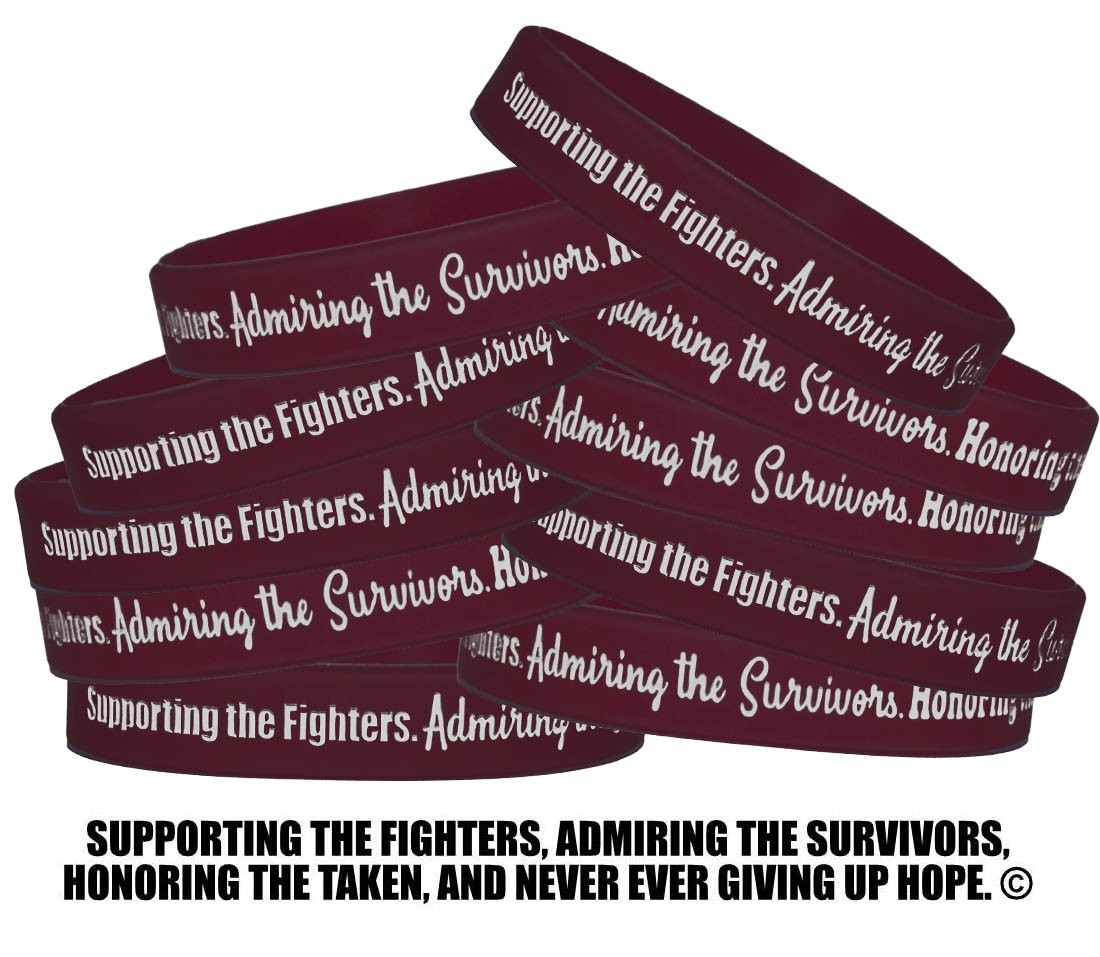 """""""Supporting Admiring Honoring"""" Silicone Wristband - Burgundy"""