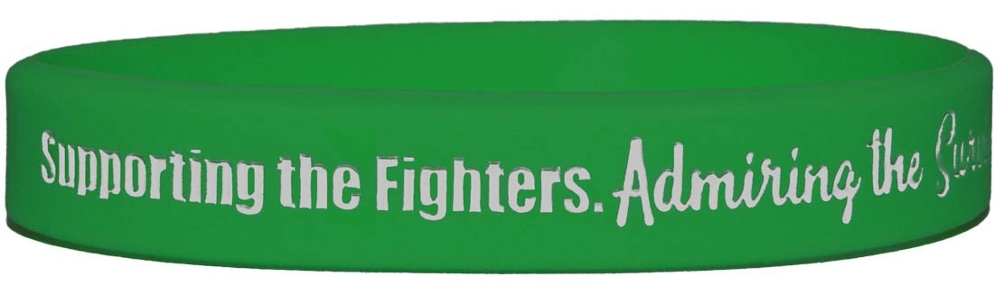 """""""Supporting Admiring Honoring"""" Silicone Wristband - Green"""