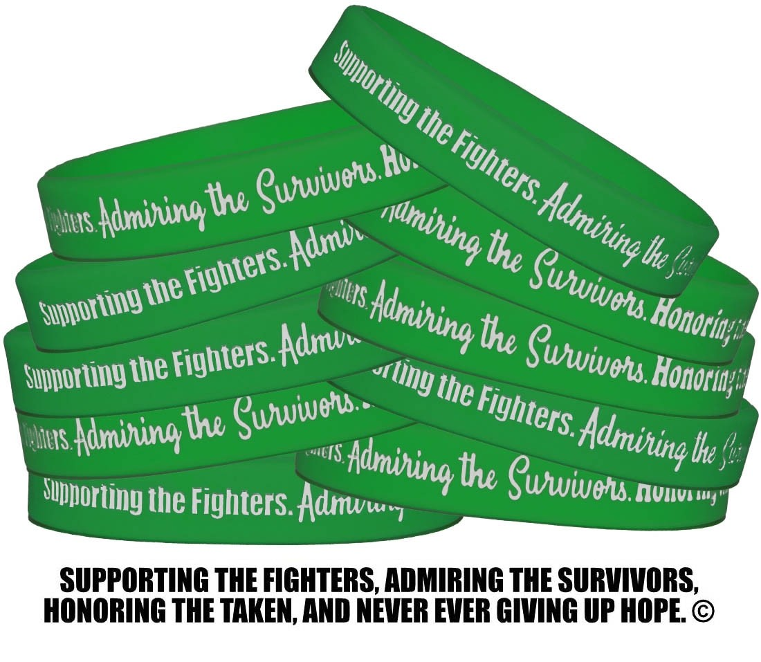 """Supporting Admiring Honoring"" Silicone Wristband - Green"