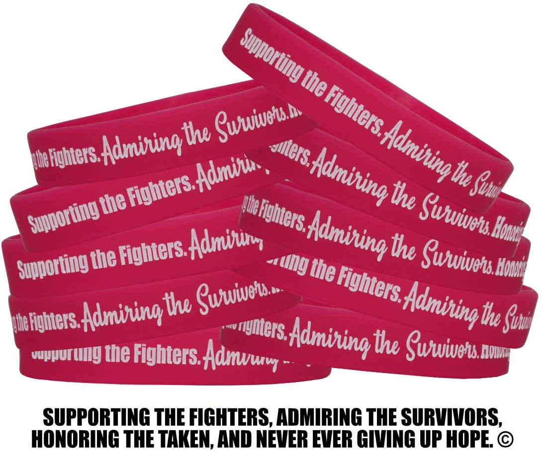 """""""Supporting Admiring Honoring"""" Breast Cancer Silicone Wristband - Hot Pink"""