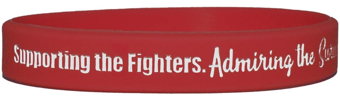 """""""Supporting Admiring Honoring"""" Ink-Filled Silicone Wristband - Red"""