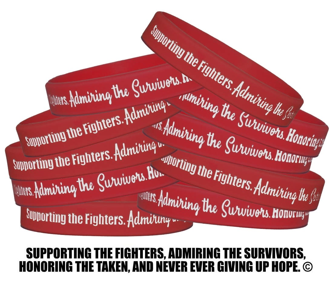 """""""Supporting Admiring Honoring"""" Silicone Wristband - Red"""