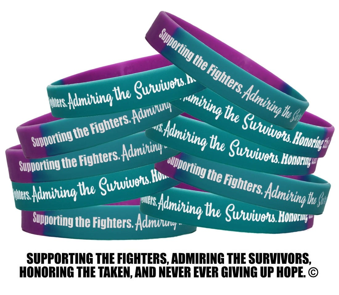 """""""Supporting Admiring Honoring"""" Silicone Wristband - Teal, Purple (10 Pack)"""