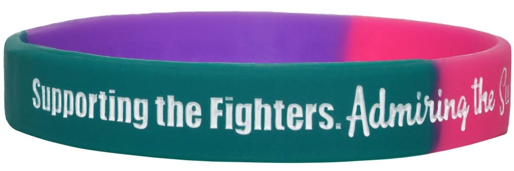 """""""Supporting Admiring Honoring"""" Ink-Filled Silicone Wristband - Teal, Purple, Pink"""