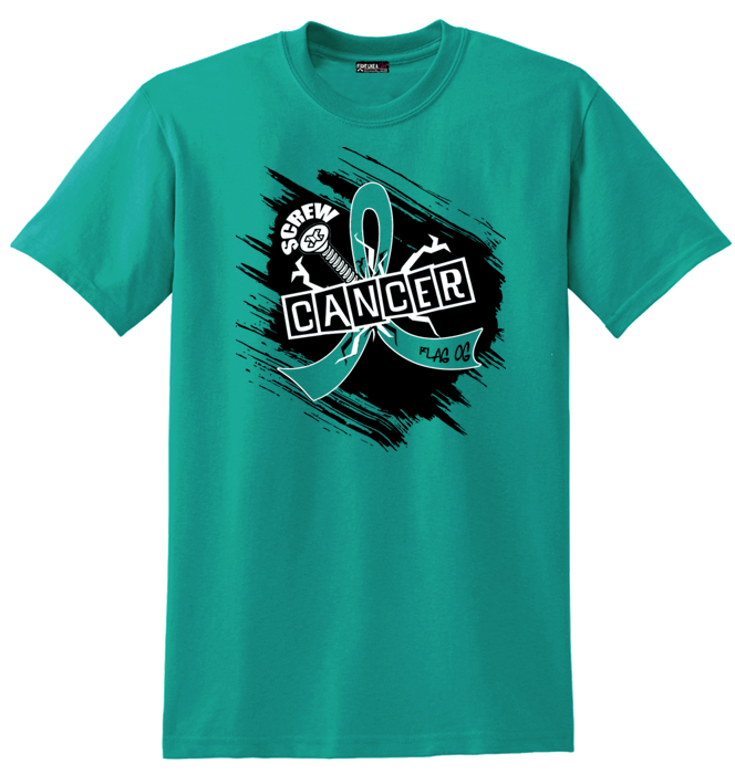 Screw Cancer in Teal For Ovarian Cancer, Peritoneal Cancer, Gynecologic Cancer