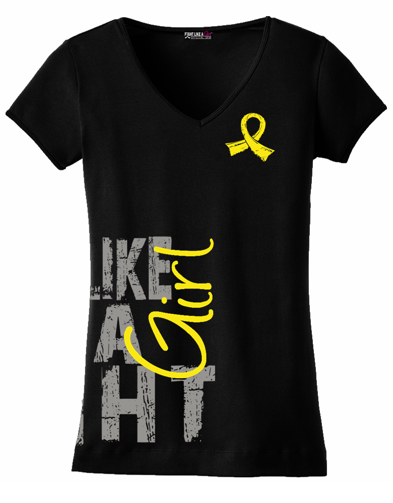 """""""Fight Like a Girl Side Wrap"""" Ladies V-Neck T-Shirt - Black w/ Yellow"""