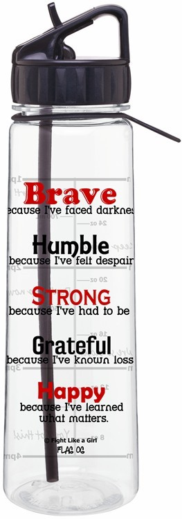 Motivational Message Quote Water Bottle With Time Marker Brave Because I've Faced Darkness Melanoma