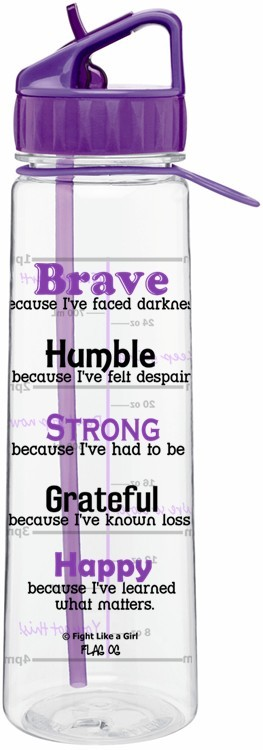 Motivational Water Sports Bottle With Time Tracker Brave Because I've Faced Darkness in Purple