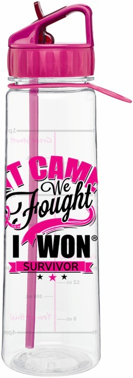 Breast Cancer Survivor Water Bottle It Came We Fought I Won Pink Ribbon