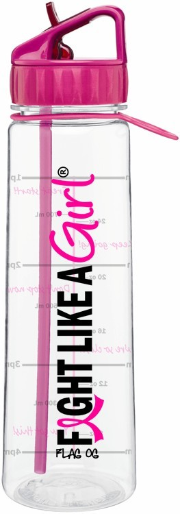 Fight Like a Girl Water Bottle With Time-Marker Pink Breast Cancer