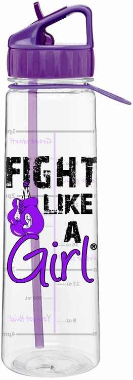 Fight Like a Girl Water Bottle with Time Marker Pancreatic Cancer Lupus Epilepsy Fibromyalgia Chiari