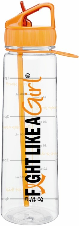 Fight Like a Girl Water Bottle With Time-Marker Leukemia MS Multiple Sclerosis Kidney Cancer
