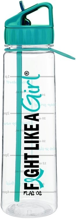 Fight Like a Girl Water Bottle With Time-Marker Ovarian Cancer Cervical