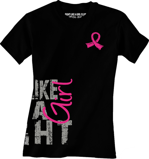 """Fight Like a Girl Side Wrap"" Ladies T-Shirt - Black w/ Pink"