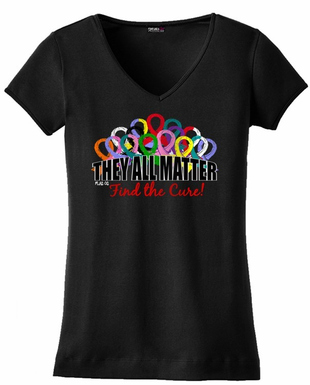 They All Matter V-Neck T-Shirt for All Cancers and Diseases