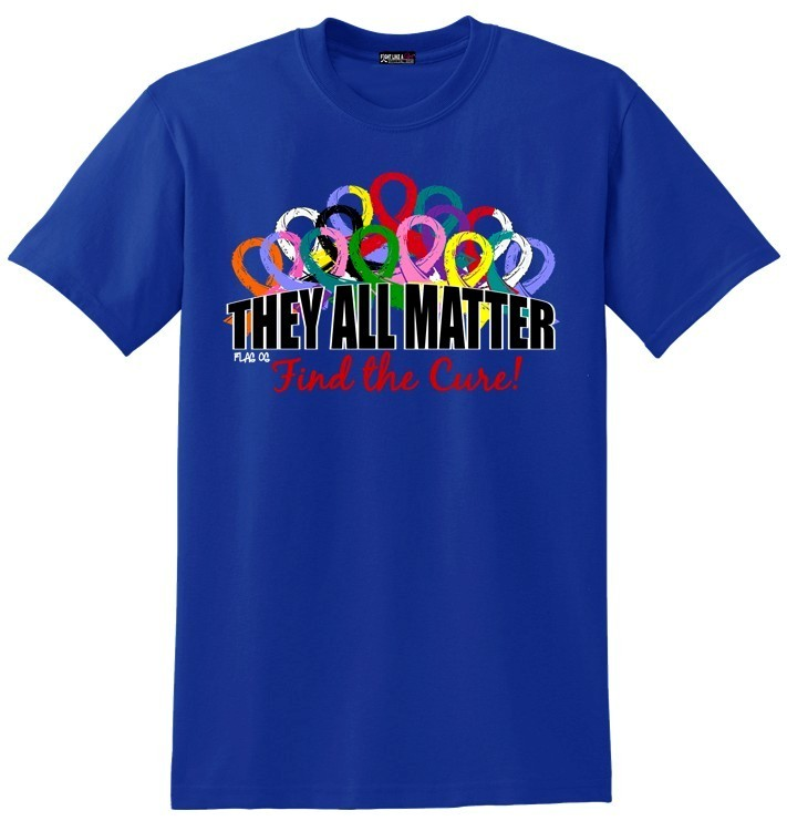 They All Matter T-Shirt With All Cancer Ribbons in Blue