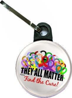 They All Matter Zipper Pull All Cancers and Ribbons