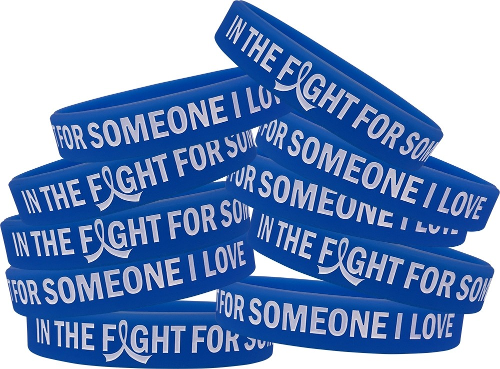 """""""In The Fight"""" Ink-Filled Silicone Wristband - Blue"""