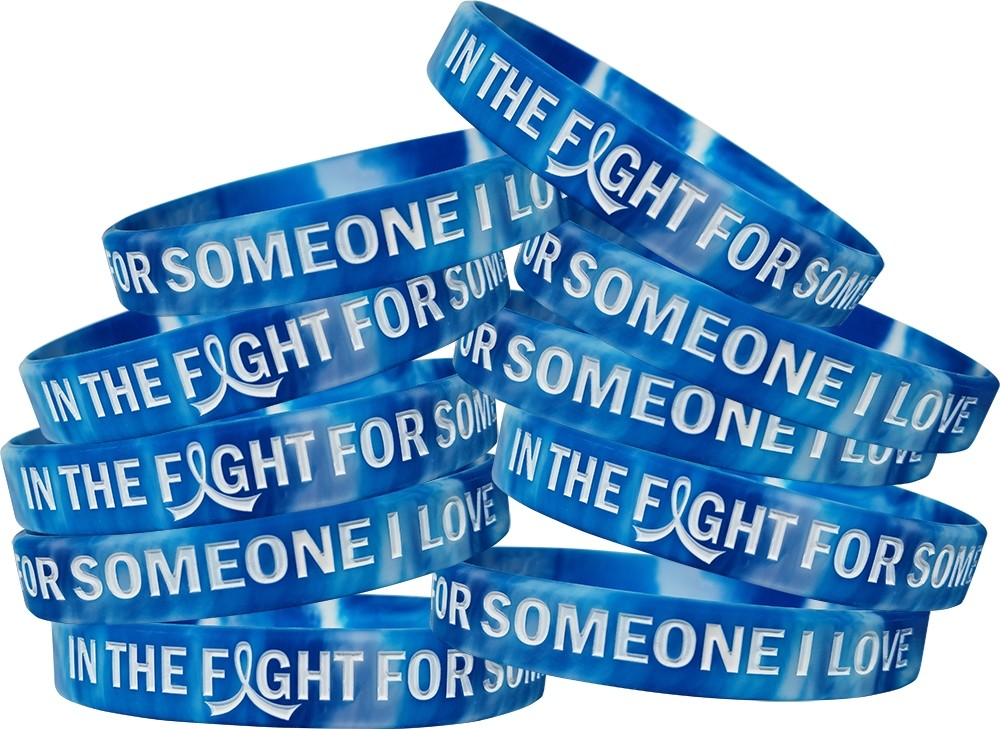 """""""In The Fight For Someone I Love"""" ALS Wristband - Blue, White"""