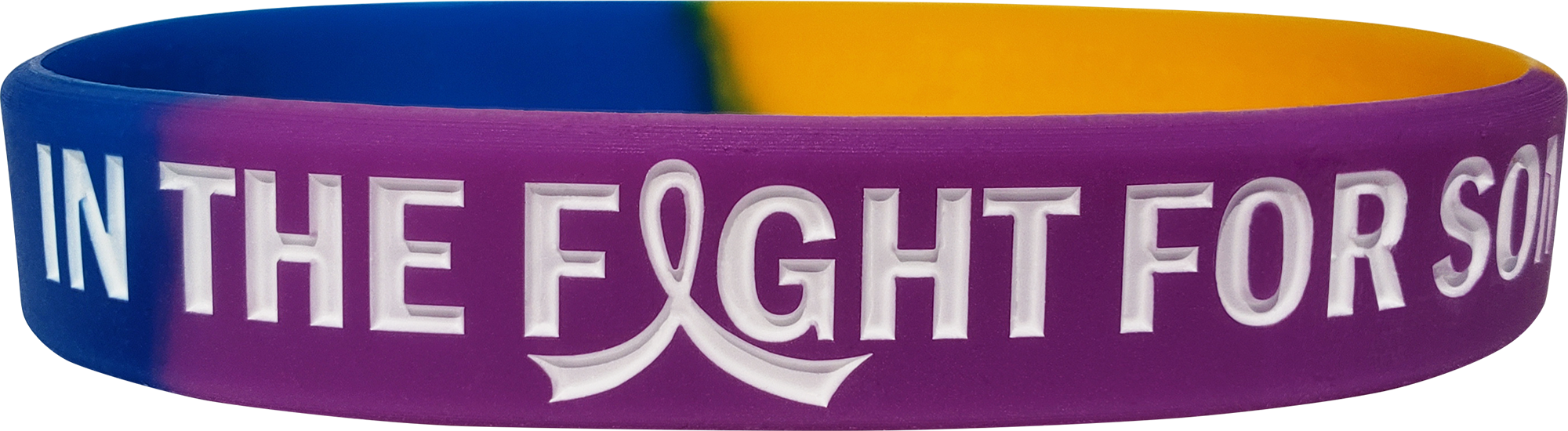 """""""In The Fight"""" Ink-Filled Wristband Bracelet - Blue, Purple, Marigold"""