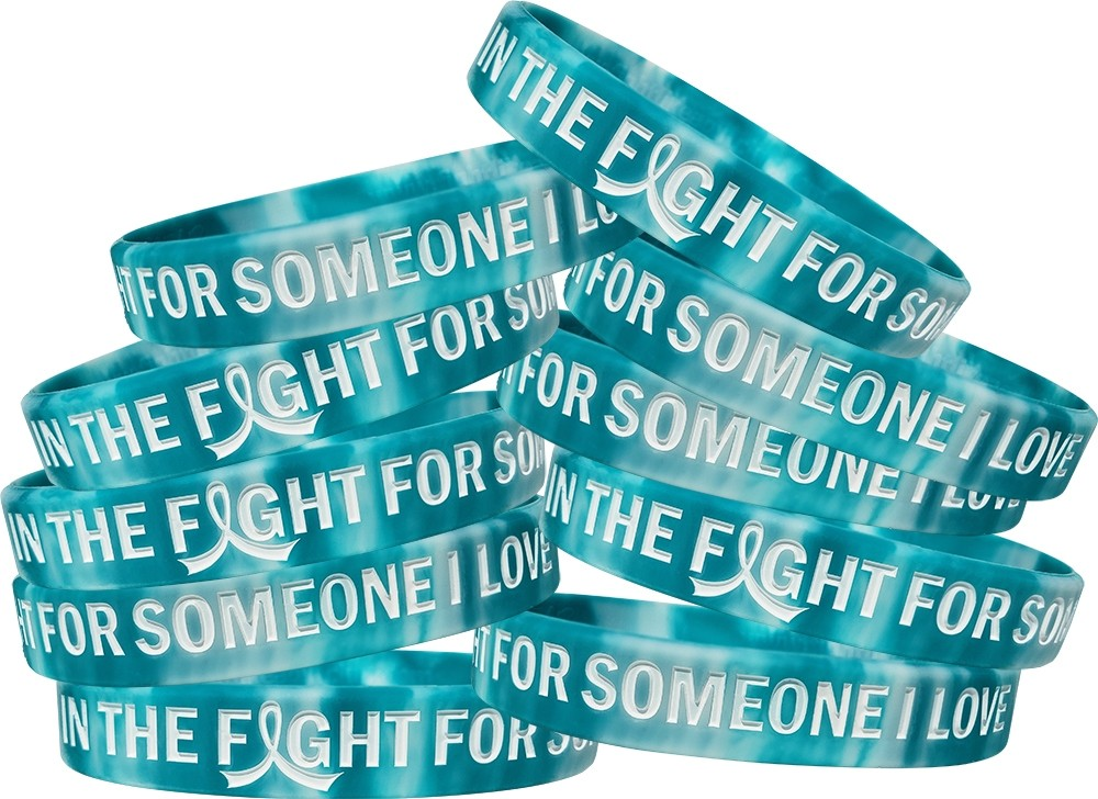 """In The Fight For Someone I Love"" Silicone Wristband - Teal, White"