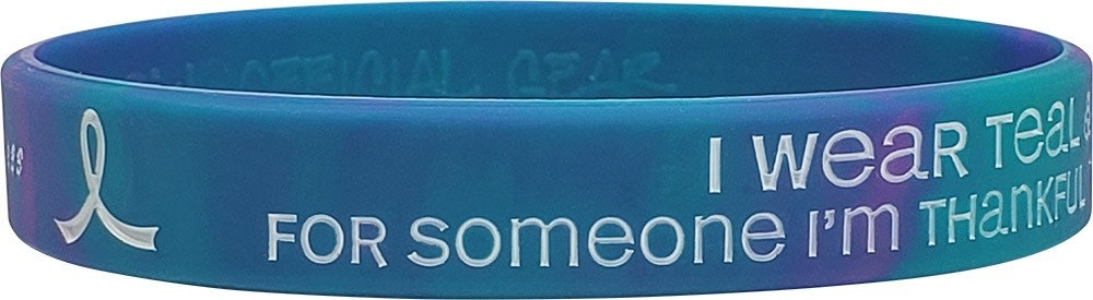 Thankful to Still Have in My Life Suicide Awareness Wristband Teal & Purple Swirl 1