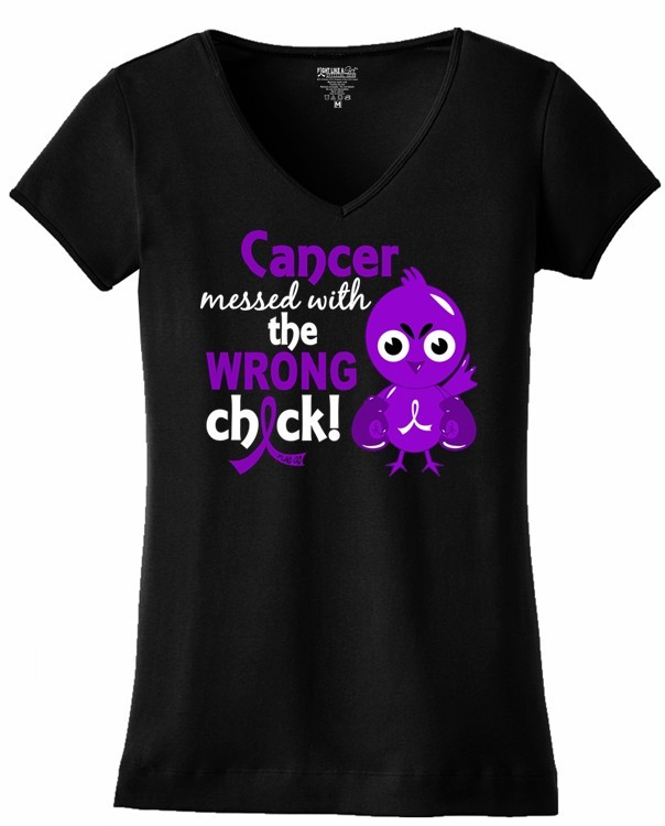 Cancer Messed With Wrong Chick V-Neck T-Shirt General Cancer Pancreatic Leiomyosarcoma