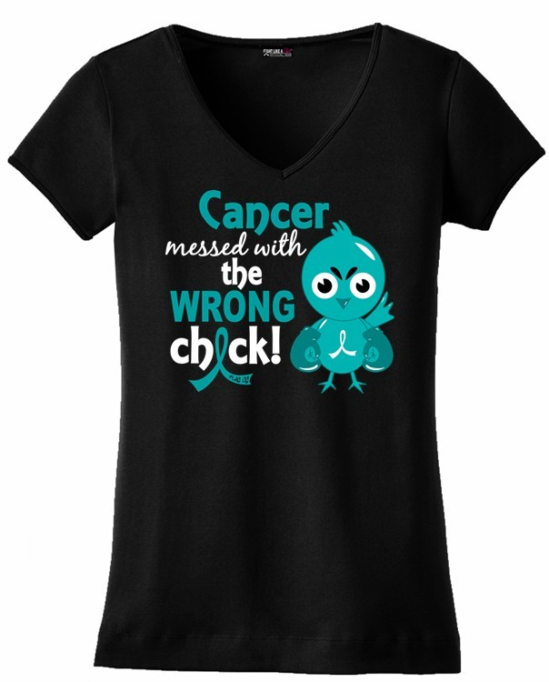 Ovarian Cancer Messed With Wrong Chick T-Shirt Peritoneal Cancer