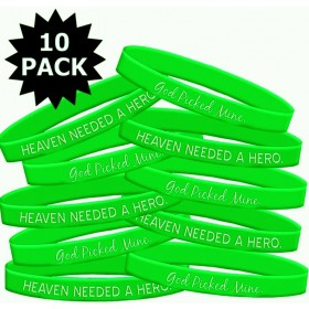 """Heaven Needed a Hero"" Lymphoma Muscular Dystrophy Wristband - Lime Green (10 Pack)"