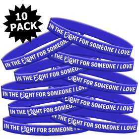 """In The Fight"" Ink-Filled Silicone Wristband - Blue (10 Pack)"