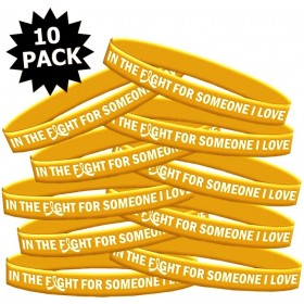 """""""In the Fight"""" Silicone Wristband Bracelet - Gold (10 Pack)"""