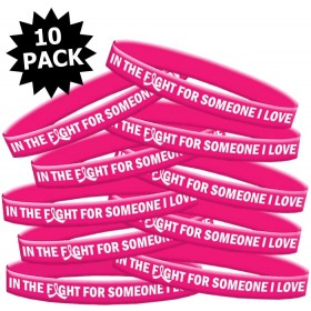 """""""In The Fight"""" Breast Cancer Silicone Wristband - Hot Pink (10 Pack)"""