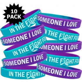 """""""In The Fight"""" Breast Cancer Silicone Wristband - Teal, Purple (10 Pack)"""