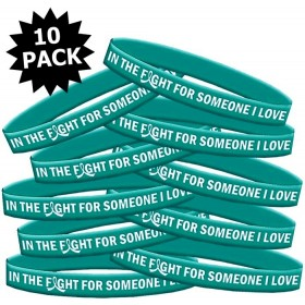"""In The Fight"" Ink-Filled Silicone Wristband - Teal (10 Pack)"
