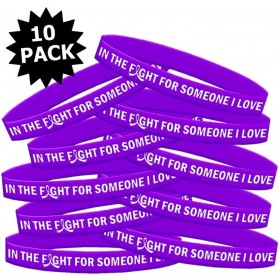 """In the Fight"" Silicone Wristband Bracelet - Violet (10 Pack)"