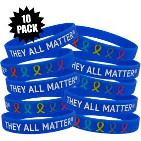 """They All Matter"" Ink-Filled Silicone Wristband - Blue (10 Pack)"
