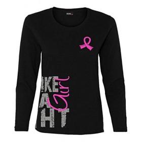 """Fight Like a Girl Side Wrap"" Ladies Long Sleeve Shirt - Black w/ Pink"